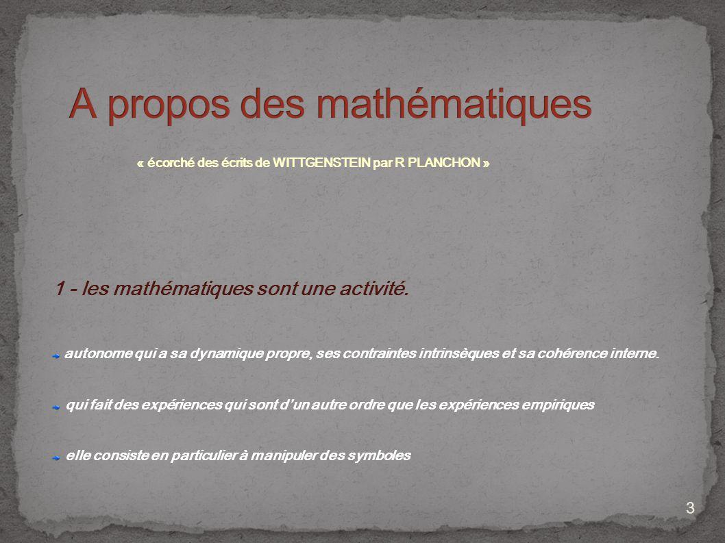 A propos des mathématiques