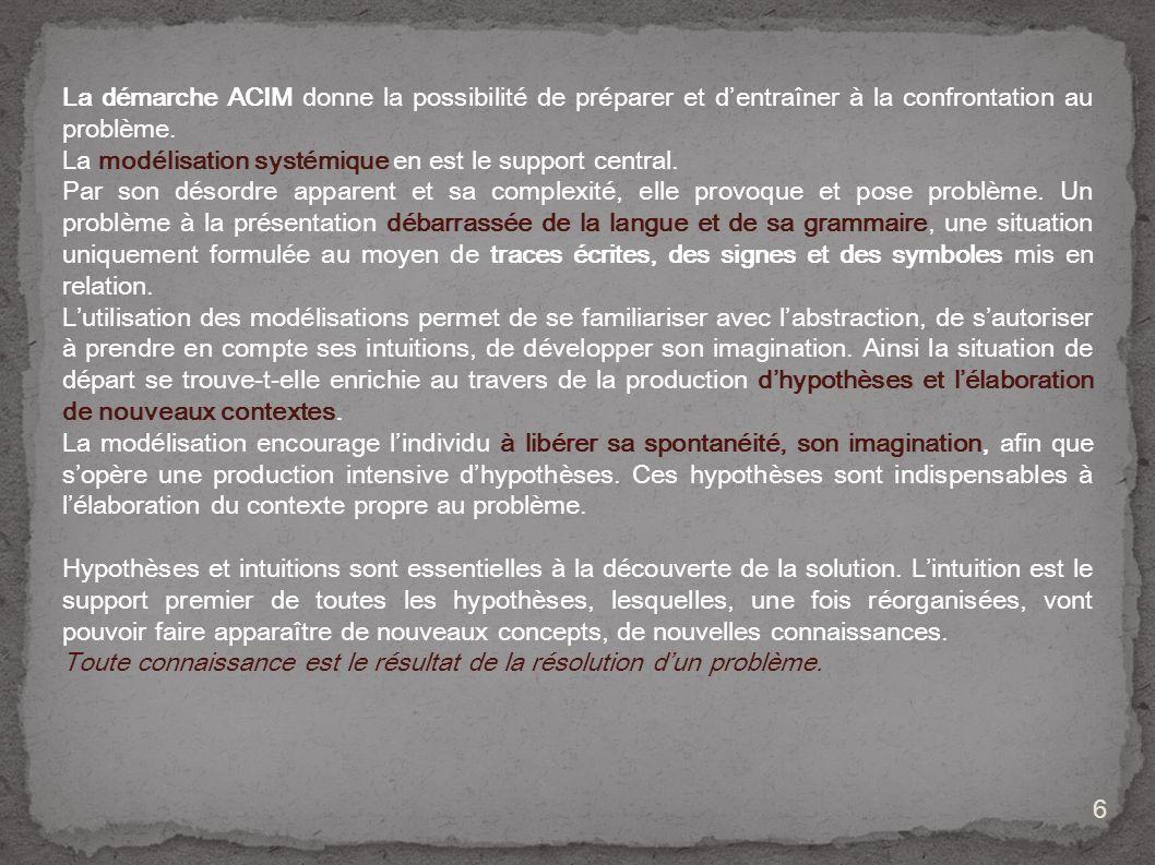 La démarche ACIM donne la possibilité de préparer et d'entraîner à la confrontation au problème.