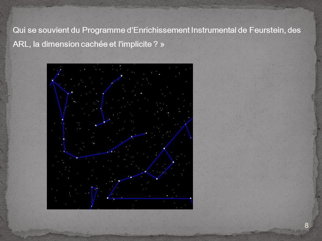 Qui se souvient du Programme d'Enrichissement Instrumental de Feurstein, des ARL, la dimension cachée et l implicite »