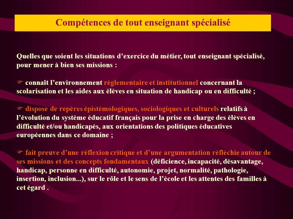 Compétences de tout enseignant spécialisé