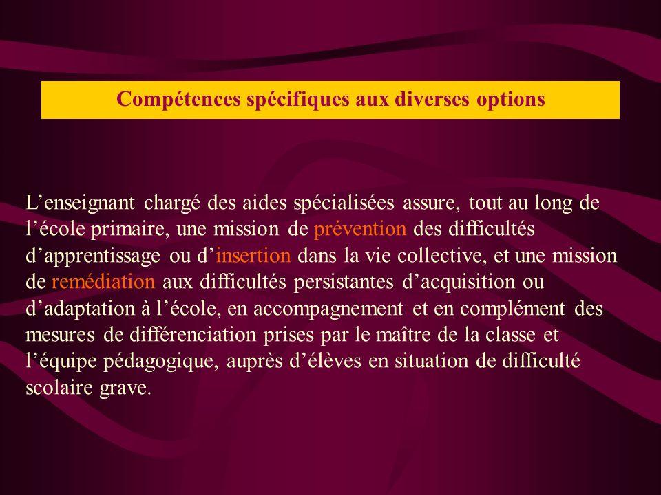 Compétences spécifiques aux diverses options