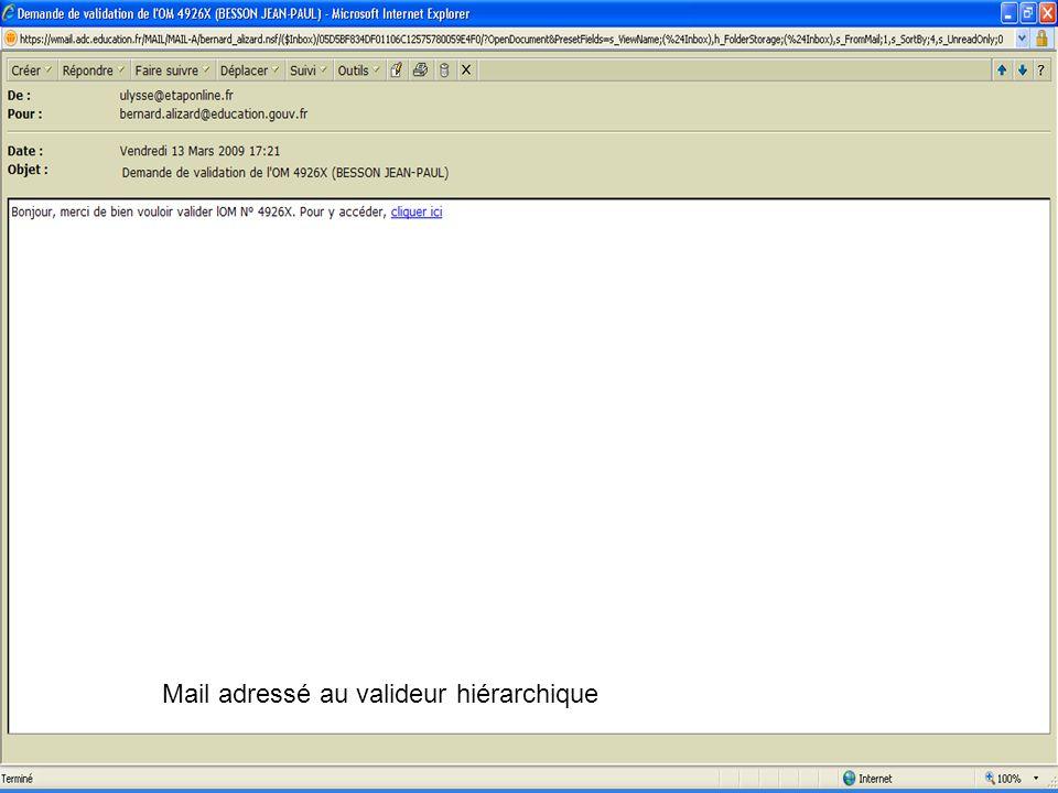 Mail adressé au valideur hiérarchique