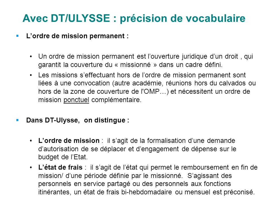 Avec DT/ULYSSE : précision de vocabulaire
