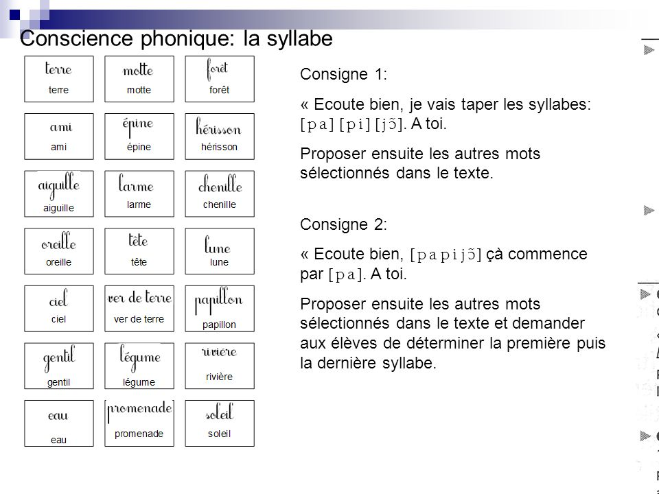 Conscience phonique: la syllabe