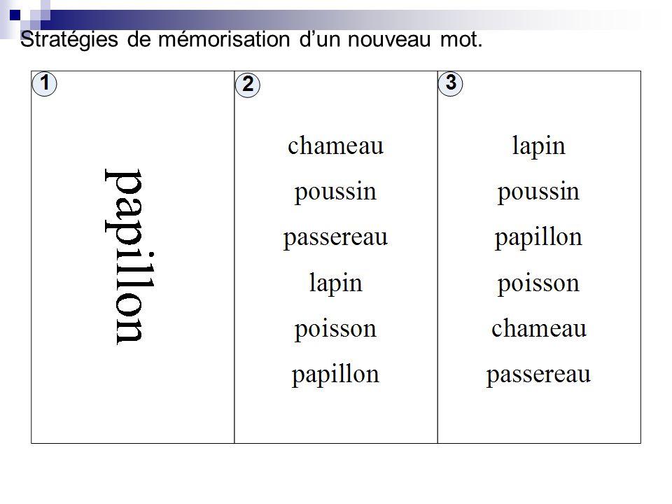 Stratégies de mémorisation d'un nouveau mot.