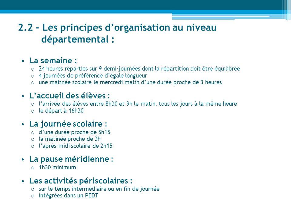 2.2 - Les principes d'organisation au niveau départemental :