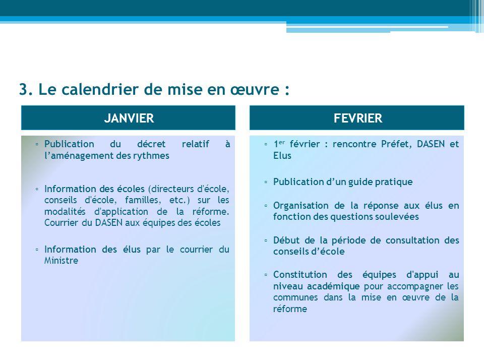 3. Le calendrier de mise en œuvre :