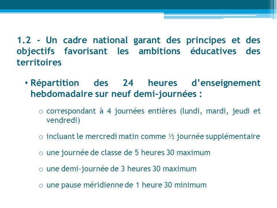 1.2 - Un cadre national garant des principes et des objectifs favorisant les ambitions éducatives des territoires