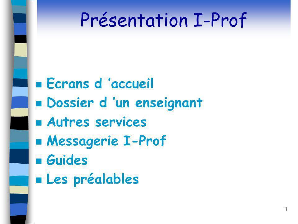 Présentation I-Prof Ecrans d 'accueil Dossier d 'un enseignant
