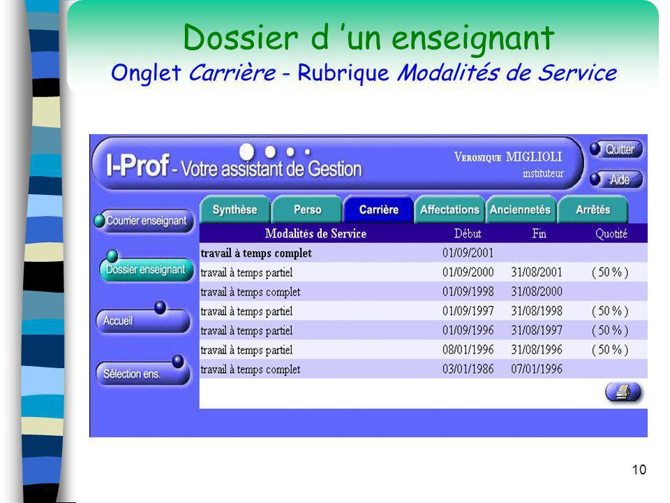 Dossier d 'un enseignant Onglet Carrière - Rubrique Modalités de Service