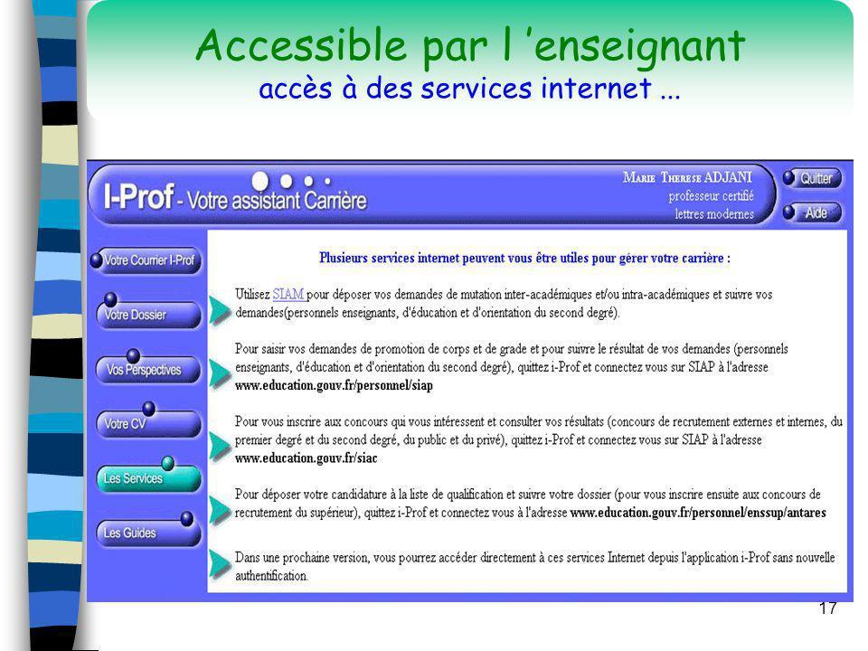 Accessible par l 'enseignant accès à des services internet ...