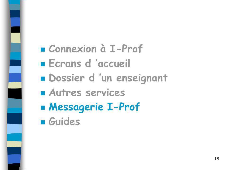 Connexion à I-Prof Ecrans d 'accueil. Dossier d 'un enseignant. Autres services. Messagerie I-Prof.
