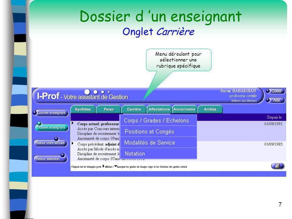 Dossier d 'un enseignant Onglet Carrière