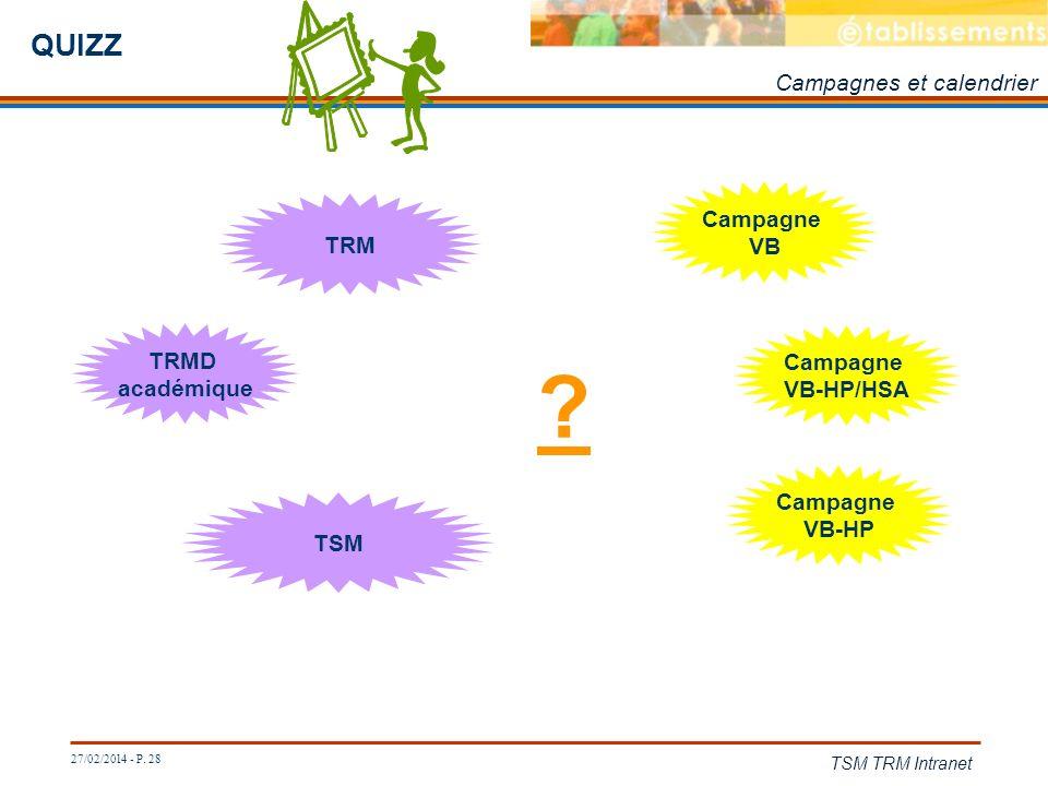 QUIZZ Campagnes et calendrier Campagne VB TRM TRMD académique