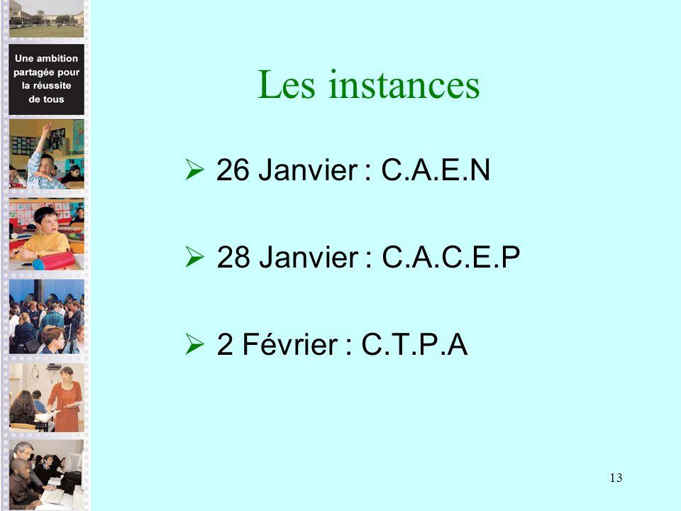 Les instances 26 Janvier : C.A.E.N 28 Janvier : C.A.C.E.P
