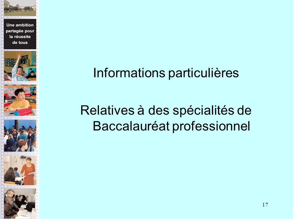 Informations particulières