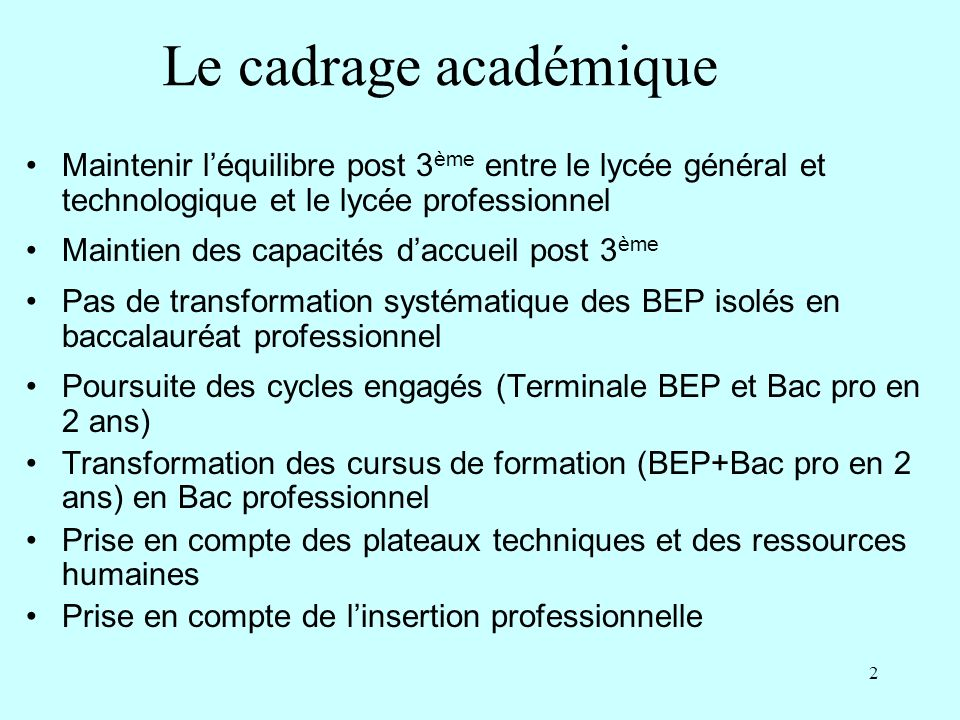 Le cadrage académique Maintenir l'équilibre post 3ème entre le lycée général et technologique et le lycée professionnel.