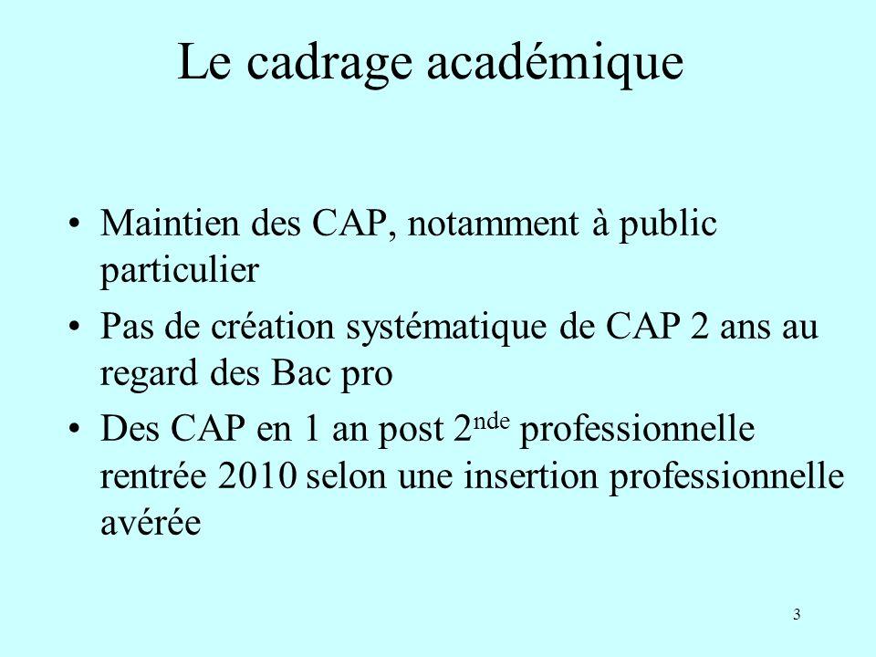 Le cadrage académique Maintien des CAP, notamment à public particulier