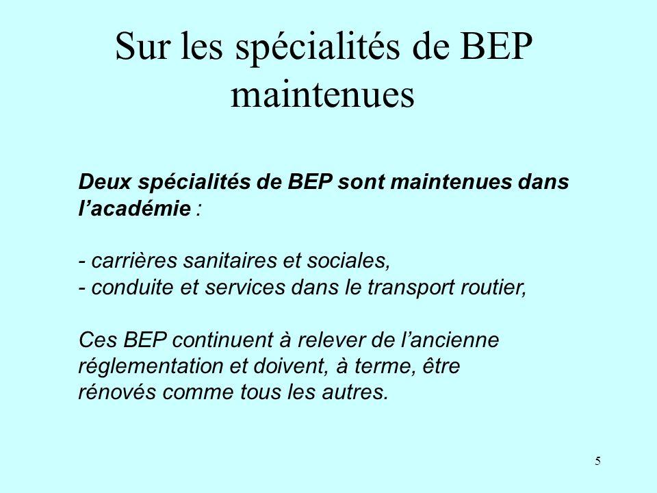 Sur les spécialités de BEP maintenues