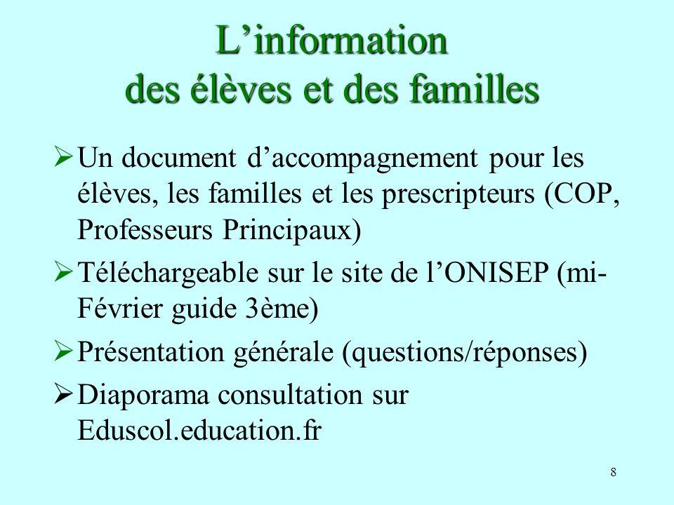 L'information des élèves et des familles