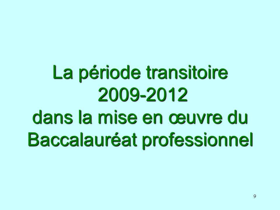 La période transitoire 2009-2012 dans la mise en œuvre du Baccalauréat professionnel