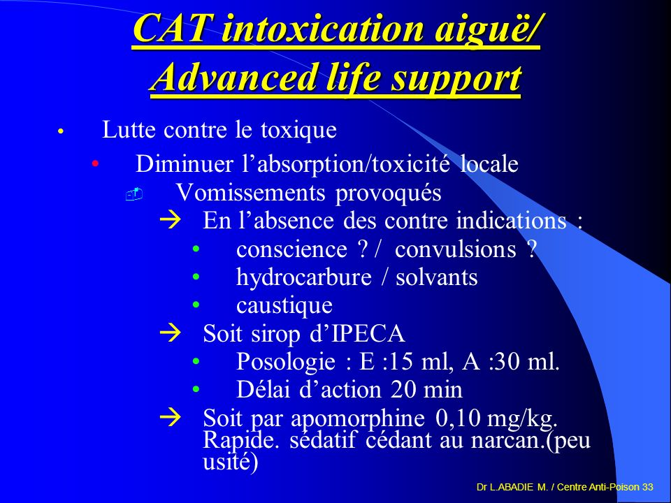 CAT intoxication aiguë/ Advanced life support