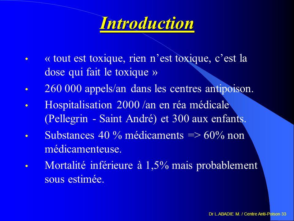 Introduction « tout est toxique, rien n'est toxique, c'est la dose qui fait le toxique » 260 000 appels/an dans les centres antipoison.