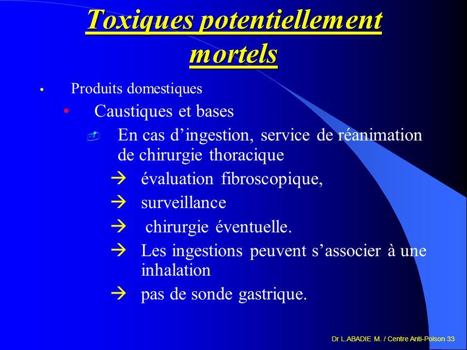 Toxiques potentiellement mortels