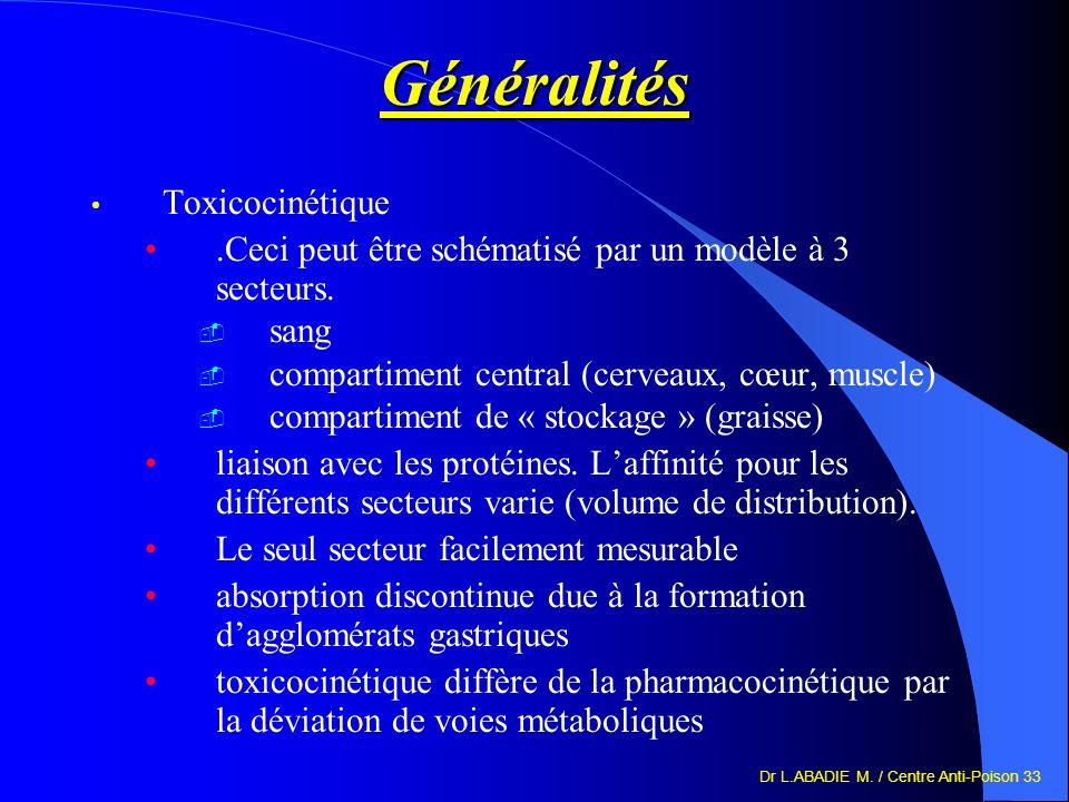 Généralités Toxicocinétique
