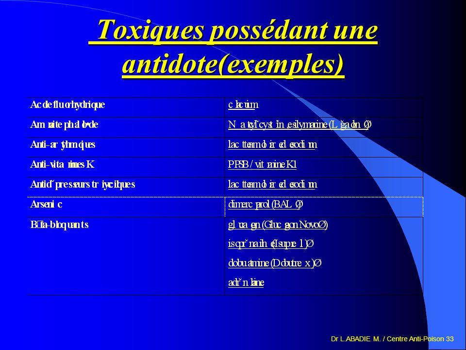 Toxiques possédant une antidote(exemples)