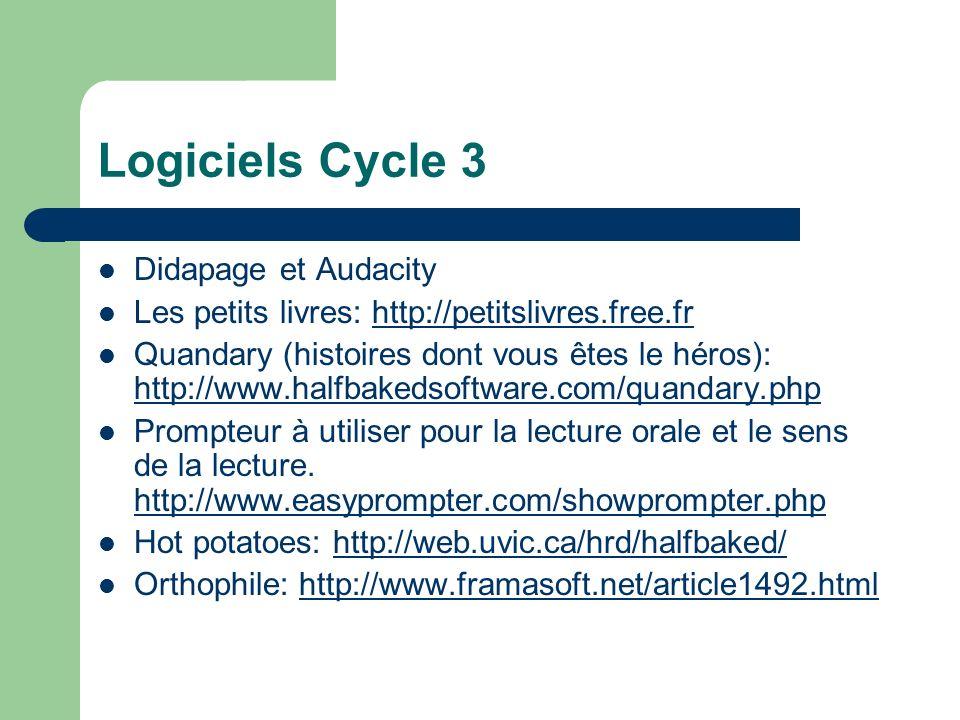 Logiciels Cycle 3 Didapage et Audacity