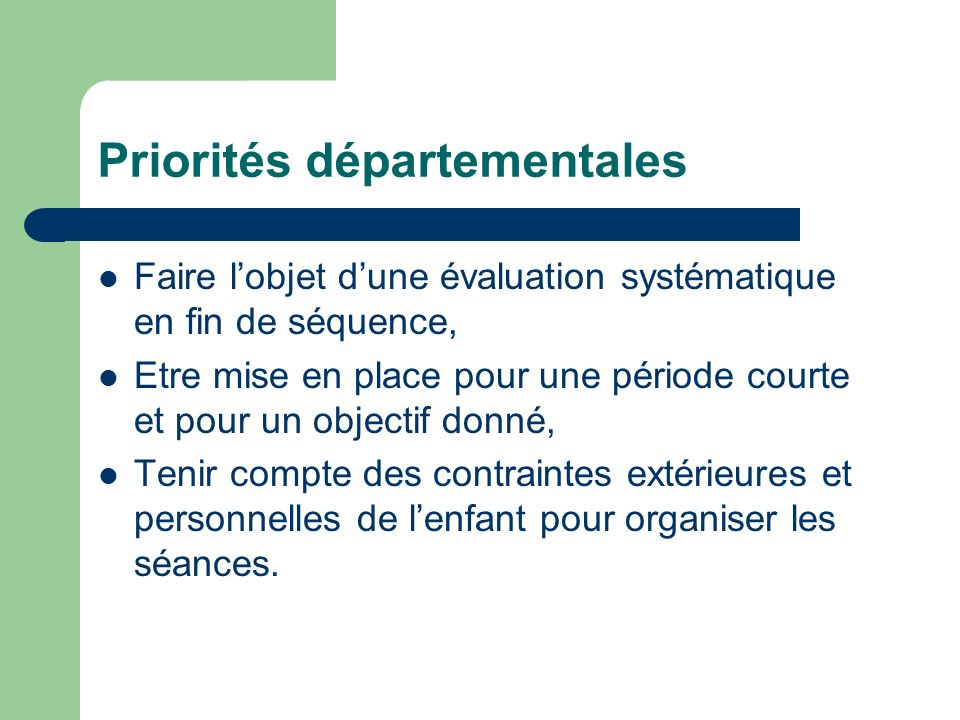 Priorités départementales