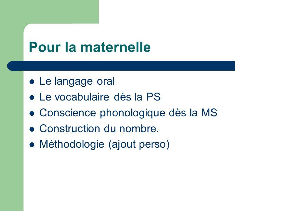 Pour la maternelle Le langage oral Le vocabulaire dès la PS