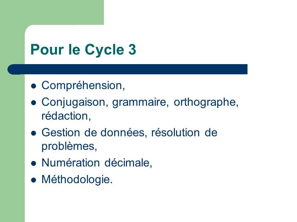 Pour le Cycle 3 Compréhension,