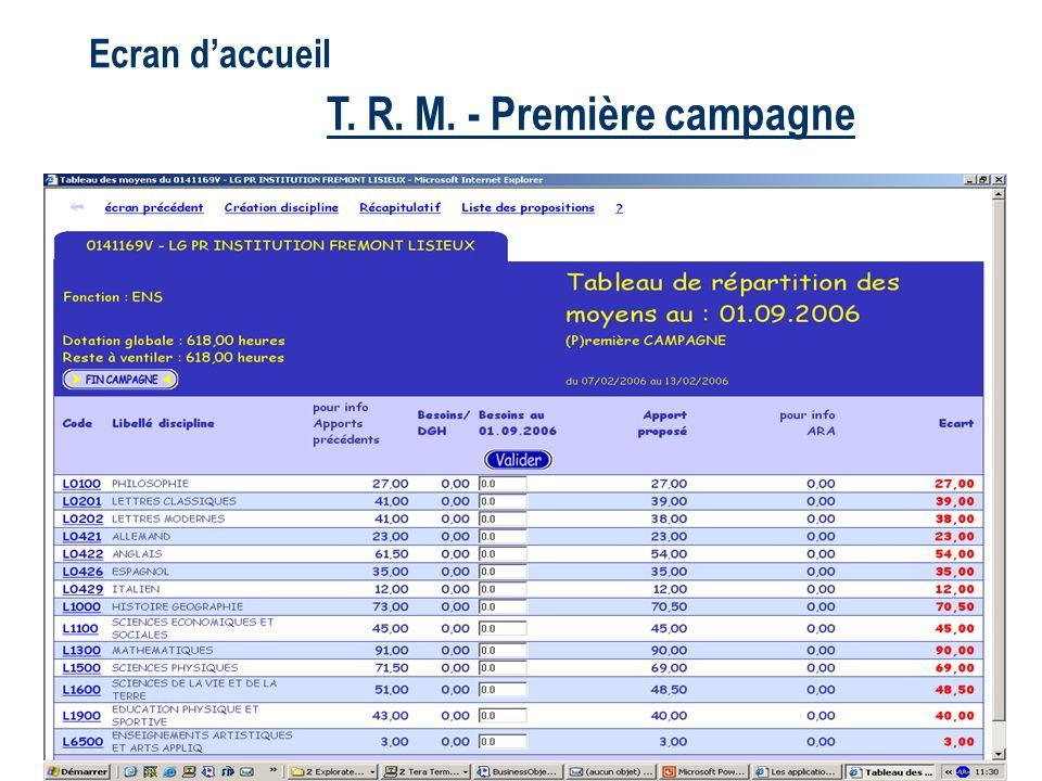 T. R. M. - Première campagne