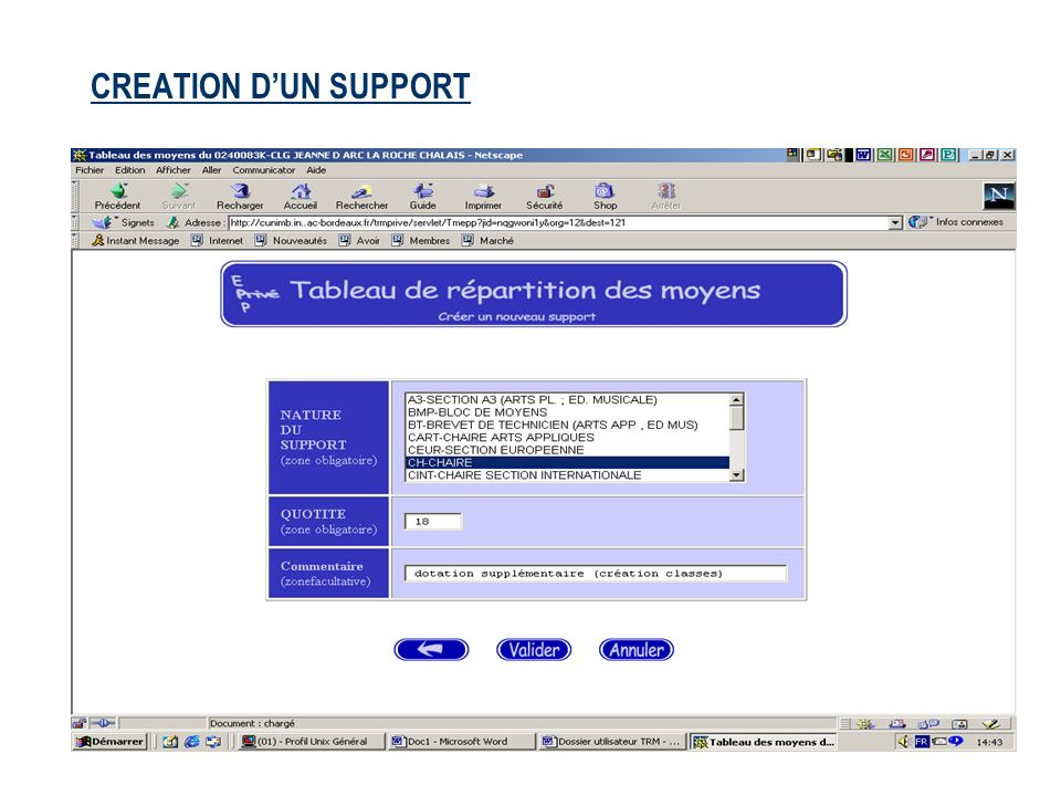 CREATION D'UN SUPPORT
