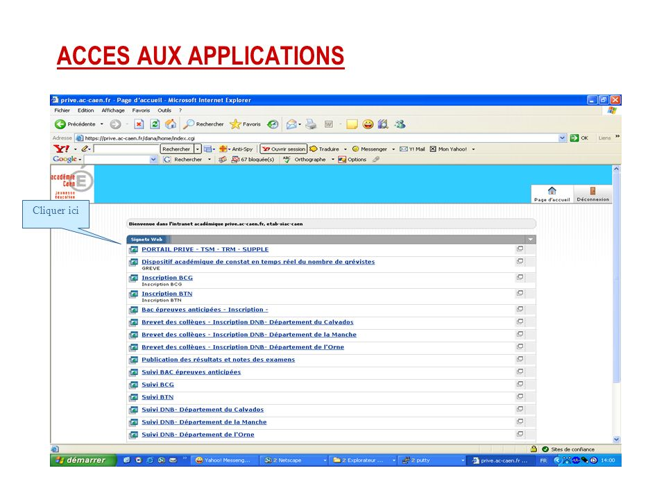 ACCES AUX APPLICATIONS