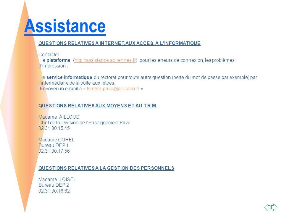 Assistance QUESTIONS RELATIVES A INTERNET, AUX ACCES, A L INFORMATIQUE