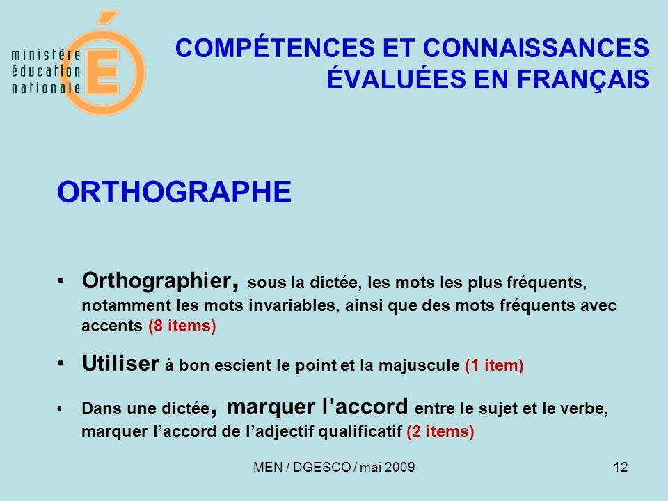 COMPÉTENCES ET CONNAISSANCES ÉVALUÉES EN FRANÇAIS