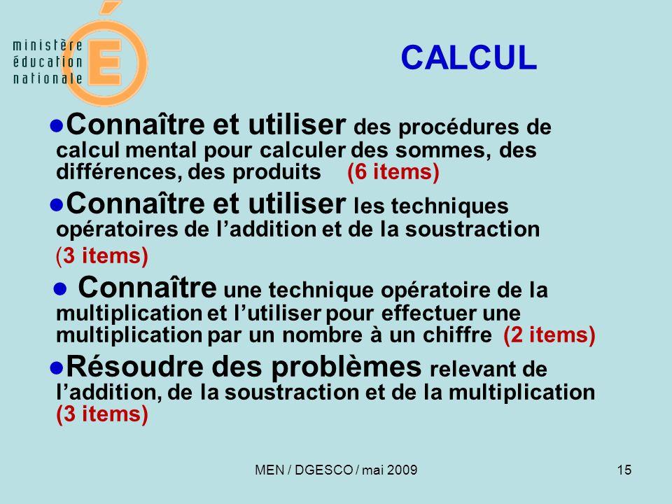 CALCUL●Connaître et utiliser des procédures de calcul mental pour calculer des sommes, des différences, des produits (6 items)
