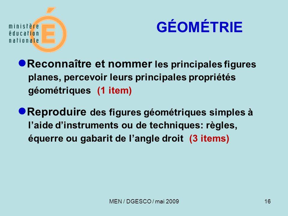 GÉOMÉTRIE ●Reconnaître et nommer les principales figures planes, percevoir leurs principales propriétés géométriques (1 item)