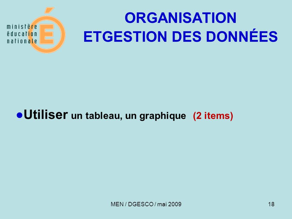 ORGANISATION ETGESTION DES DONNÉES