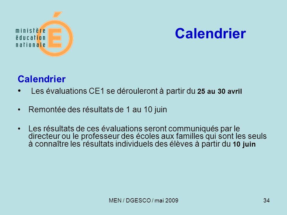 Calendrier Calendrier
