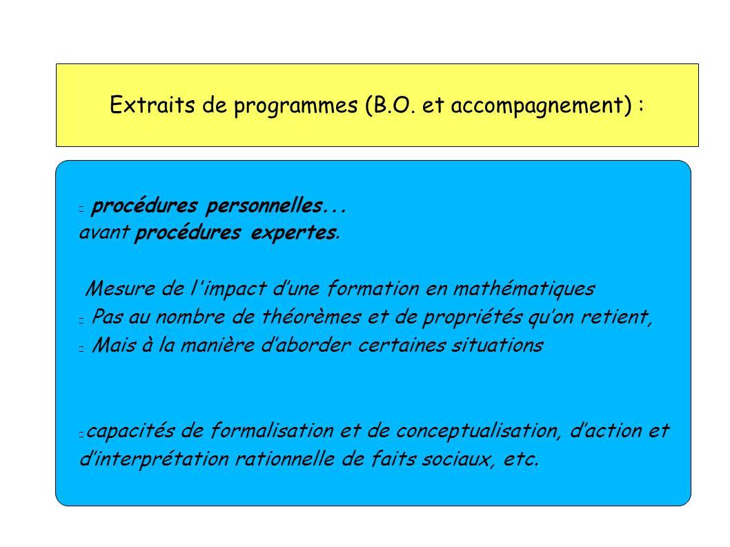 Extraits de programmes (B.O. et accompagnement) :