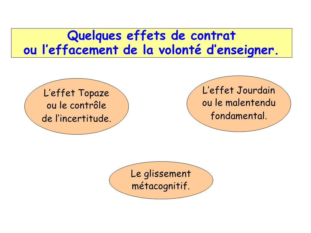 Quelques effets de contrat ou l'effacement de la volonté d'enseigner.