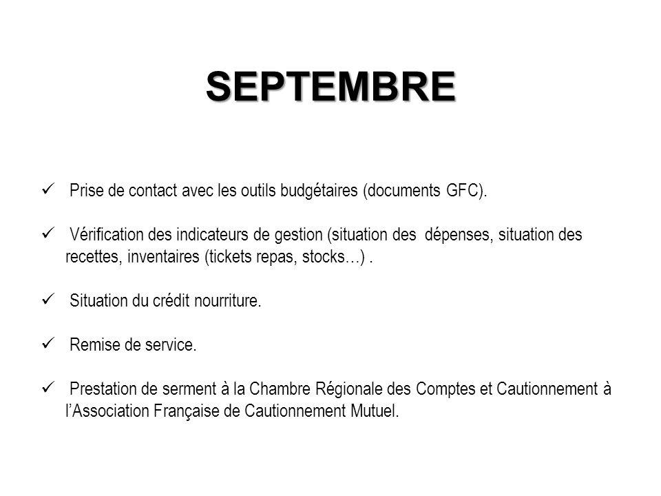 SEPTEMBRE Prise de contact avec les outils budgétaires (documents GFC).