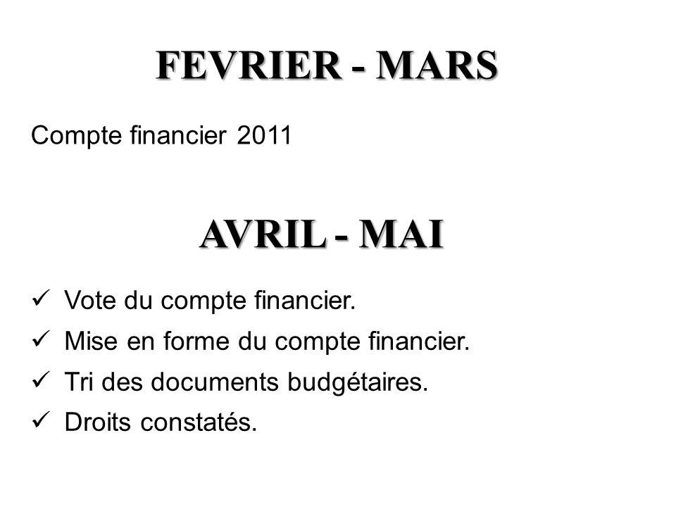 FEVRIER - MARS AVRIL - MAI Compte financier 2011