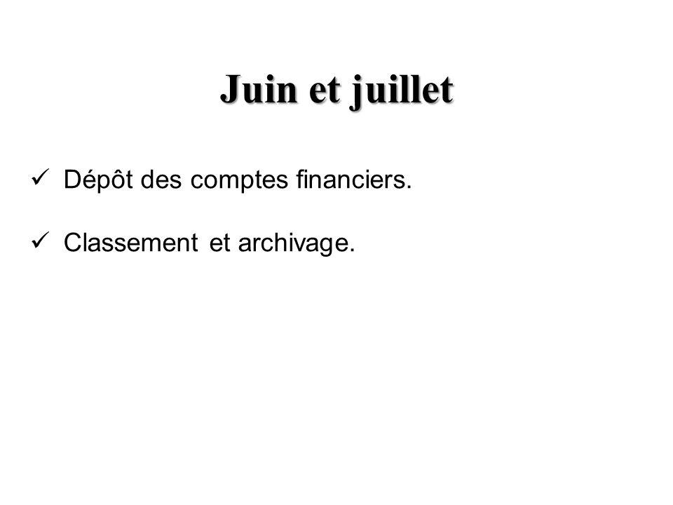 Juin et juillet Dépôt des comptes financiers. Classement et archivage.