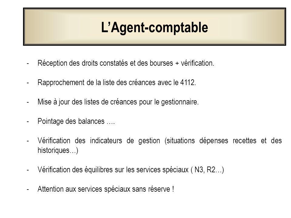 L'Agent-comptableRéception des droits constatés et des bourses + vérification. Rapprochement de la liste des créances avec le 4112.