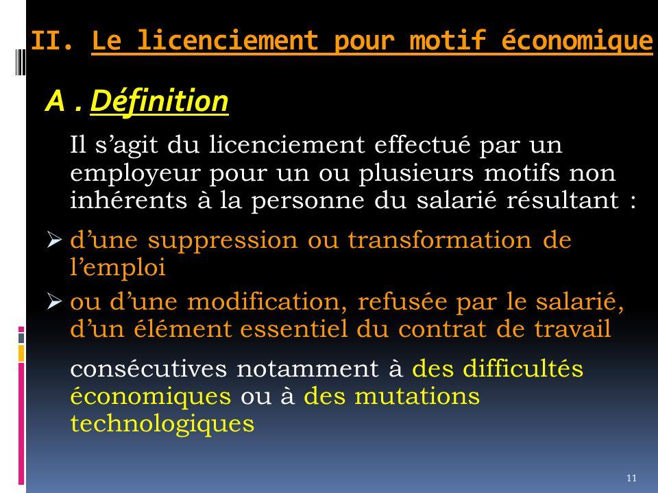 II. Le licenciement pour motif économique